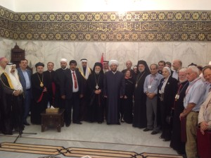 At the Umayyad Mosque with the Grand Mufti between Mairead and the Patriarche