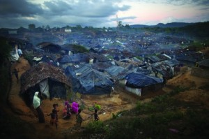 Thousands of unregistered Rohingya Muslim refugees from Burma live next to the registered refugee camp at Kutupalong Refugee Camp, Bangladesh. Jonathan Saruk/Getty images.