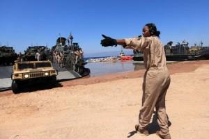 U.S. Marines landing in the Jordanian port of Aqaba