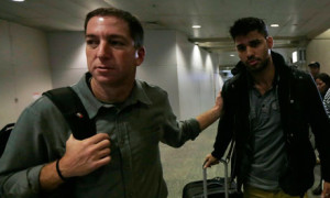 Glenn Greenwald, left, with David Miranda, who was held for nine hours at Heathrow under schedule 7 of Britain's terror laws. Photograph: Ricardo Moraes/Reuters