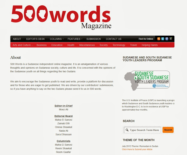 Image Sudan S Independent Online Magazine 500 Words Proudly Advertises For The Us