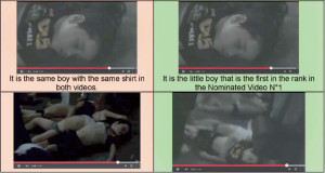 A little boy that appears in two different videos with two different scenarios