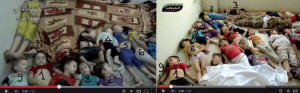 At least nine of these children appear in different footage from different locations