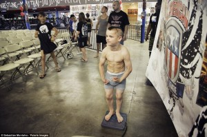 """San Bernardino, California, United States: Mason """"The Beast"""" Bramlette, 7, is weighed in before a tournament at Adrenaline Combat Sports and Fitness in San Bernardino"""