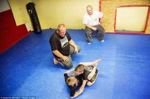 """Training: Mason """"The Beast"""" Bramlette, 7, and Justin Ramirez, 7, train before a fight in a Pankration tournament held at Adrenaline Combat Sports and Fitness"""