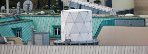 A white covered structure is pictured on the roof of the British embassy in Berlin