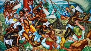 Hale Woodruff's mural Mutiny on the Amistad (1939), courtesy of Talladega College, Alabama.