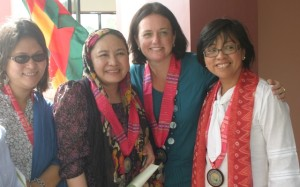 BONDING: Emma Leslie of ICG (2nd from right) with lawyer Mary Ann Arnado of MPC, GPH panel members Bai Yasmin Busra-Lao and Miriam Coronel-Ferrer on June 7, 2012 at the inauguration of the Bangsamoro Management and Leadership Institute in Sultan Kudarat, Maguindanao. File photo by GG Bueno / MindaNews