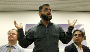 Moazzam Begg speaks at the Convention Modern on Liberty in London. (AP Photo/Akira Suemori)