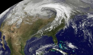 This Nasa Earth Observatory image shows a storm system circling around an area of extreme low pressure in 2010, which many scientists attribute to climate change. Photograph: AFP/Getty Images