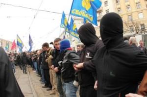 The Svoboda (Freedom) Ukrainian nationalist party holds a rally in Kiev, January 1, 2014. (Reuters/Maxim Zmeyev)