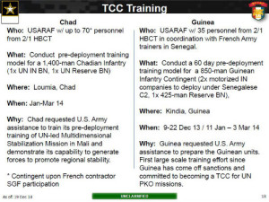 """Official briefing slide with details on U.S. training for Chad and Guinea -- """"troop contributing countries"""" aiding the U.S.-supported military mission in Mali."""