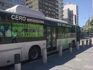 A K9 electric bus parked on a street in downtown Montevideo. Credit: Inés Acosta/IPS