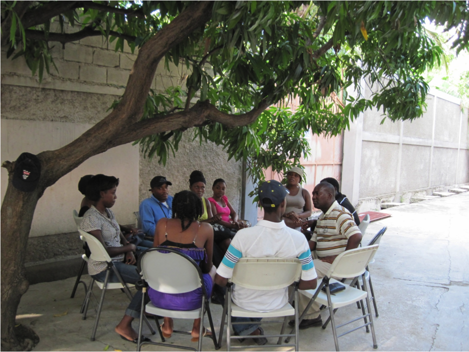 Discussion group at the Aristide Foundation for Democracy in Port-au-Prince, Haiti