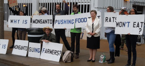 Irina Ermakova, a leading scientist at the Russian Academy of Scientists, joins GMO Free Midwest picket. (photo: Don Fitz)