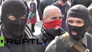 Far-right militia members demonstrating outside Ukrainian parliament in Kiev. (Screen shot from YouTube video)