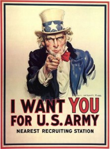 World War I Uncle Sam recruiting poster | Date: 1916-1917 | Source: Library of Congress | Author: James Montgomery Flagg |  Wikimedia Commons: No known restrictions on publication. No renewal in Copyright Office.