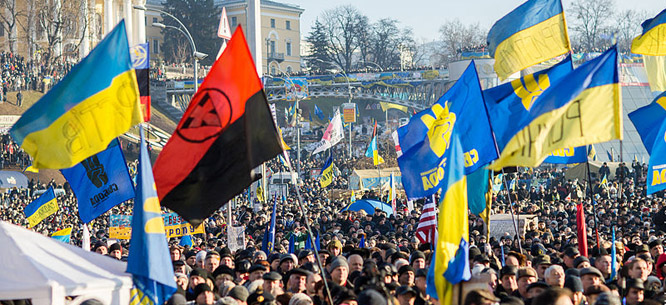 Svoboda supporters at the Euromaidan protests, December 29, 2013 (Sasha Maksymenko/Flickr)