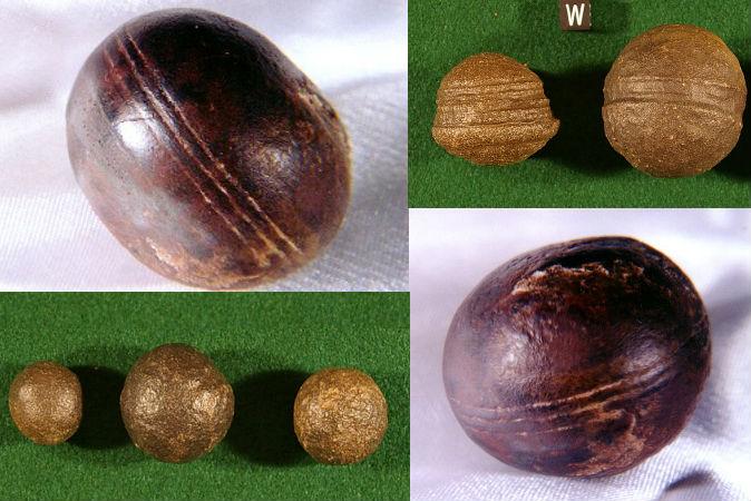 Top left, bottom right: Spheres, known as Klerksdorp spheres, found in the pyrophyllite (wonderstone) deposits near Ottosdal, South Africa. (Robert Huggett) Top right, bottom left: Objects known as Moqui marbles from the Navajo Sandstone of southeast Utah. (Paul Heinrich)