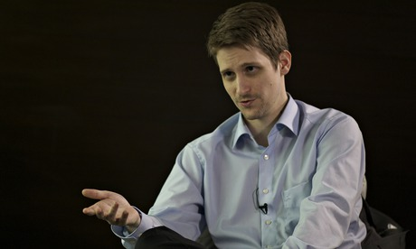 Edward Snowden during his interview with the Guardian in Moscow. Photograph: Alan Rusbridger for the Guardian
