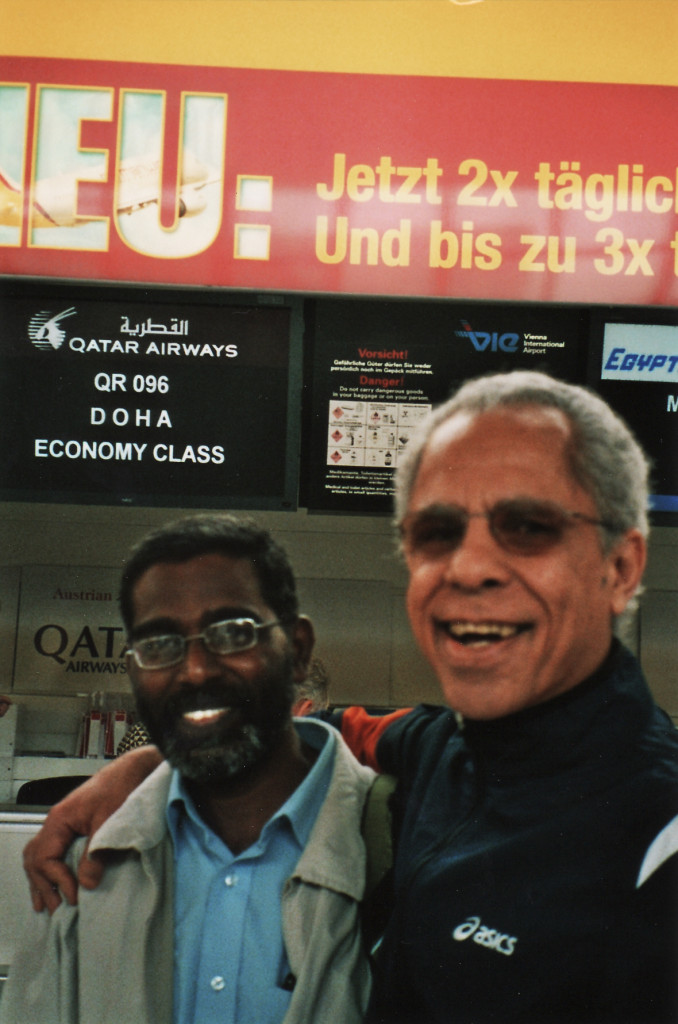 SP Udayakumar (left) with TMS editor Antonio C. S. Rosa, Vienna Airport 2008.