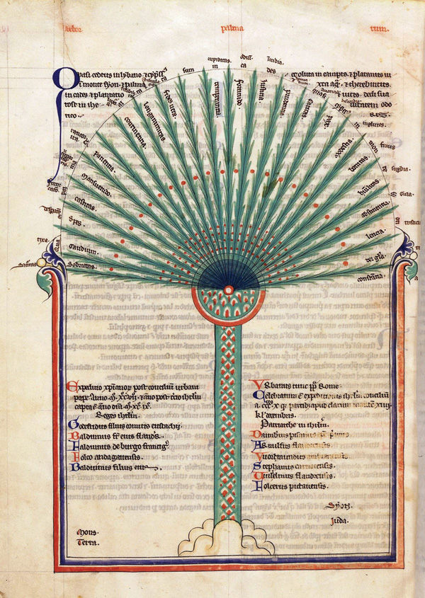 'Tree of virtues' by Lambert of Saint-Omer, ca. 1250, from 'The Book of Trees.'
