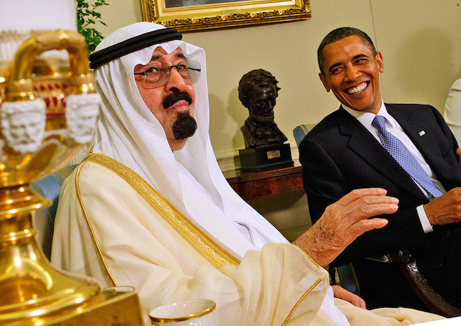 Barack Obama and Saudi Arabia's King Abdullah. Photo credit: Ron Edmonds/AP