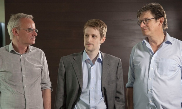Snowden with Ewen MacAskill (left) and Alan Rusbridger. Photograph: Alex Healey for the Guardian