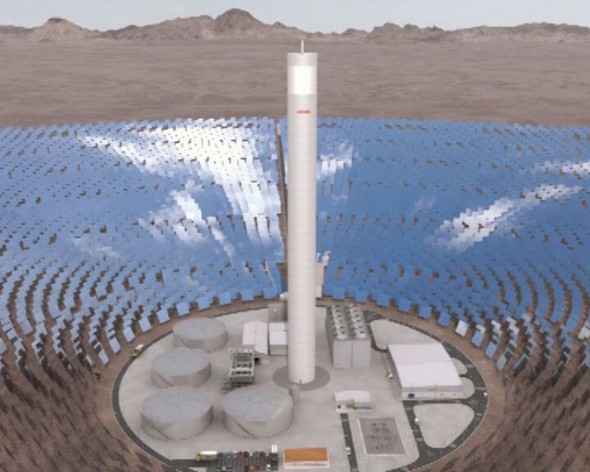 Model of the Concentración Solar de Potencia de Cerro Dominador plant being built in the northern Chilean region of Antofagasta, which will begin to produce solar thermal energy in 2017. Credit: Abengoa Chile