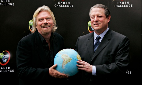 In 2006, after meeting Al Gore, Richard Branson pledged £3bn to battle climate change over the following decade. He has since spent just £230m. Photograph: Bruno Vincent/Getty Images