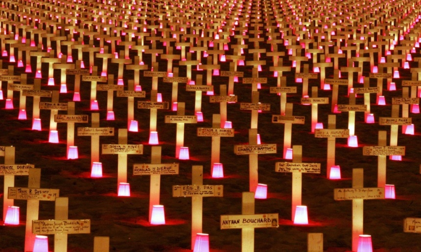 A candlelight vigil in 2007 at the Arlington West Memorial in Santa Barbara, California, to honour American soldiers killed in the Iraq war. Photograph: Sipa Press/REX