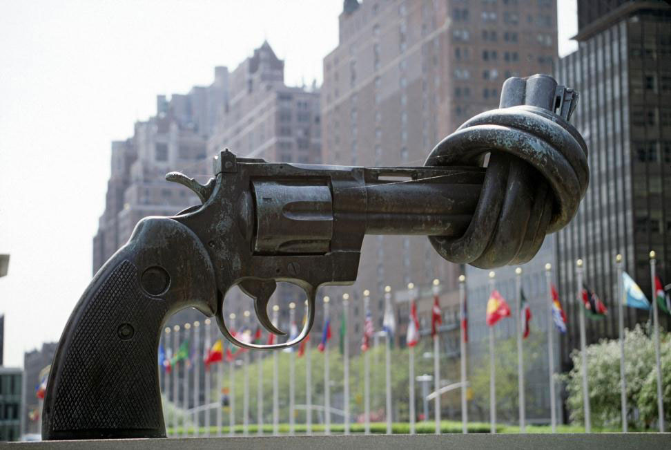 """Non-Violence,"" a sculpture by Karl Fredrik Reutersward, sits permanently outside UN Headquarters in New York."