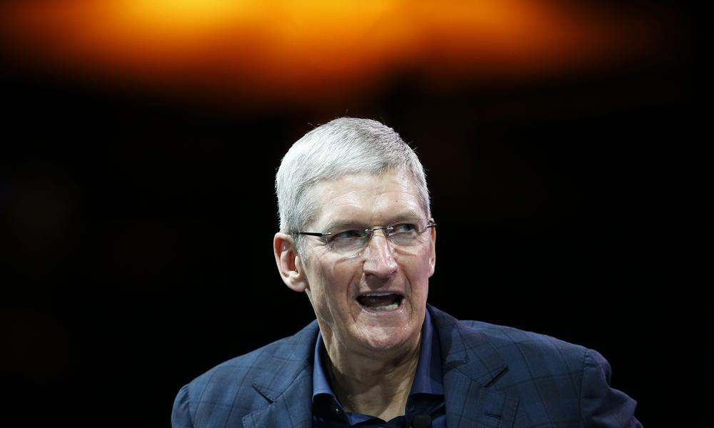 Apple CEO Tim Cook speaks at the WSJD Live conference in Laguna Beach, California. Photograph: Lucy Nicholson/Reuters