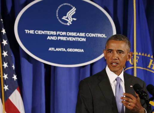 U.S. President Barack Obama speaks at the Centers for Disease Control and Prevention in Atlanta, Georgia, September 16, 2014. Credit: Reuters/Larry Downing