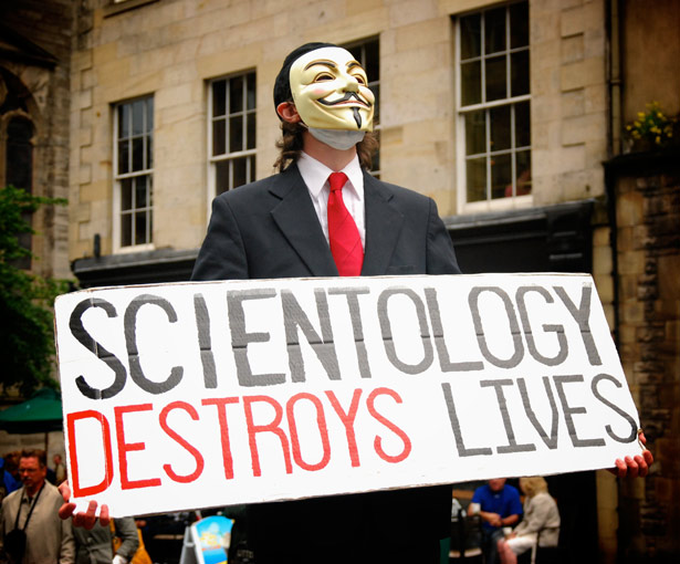 Operation Chanology saw Anonymous waging war on the Church of Scientology. Tactics included the live protests that popularized their Guy Fawkes masks.