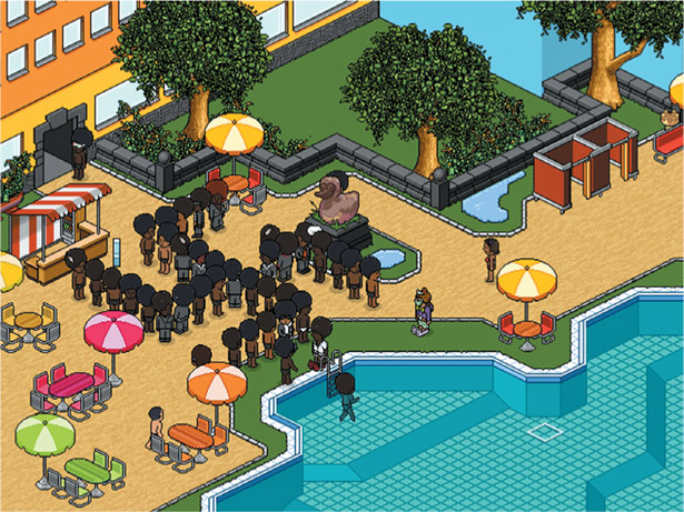 Anonymous's invasion of the online teens' game Habbo Hotel.