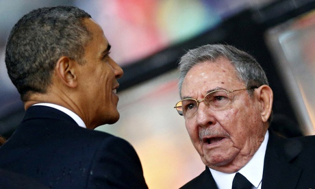 'It is Barack Obama (above, with Raul Castro) who has made the big concession to reality by simply recognising that Cuba is now an independent nation.' Photograph: Kai Pfaffenbach/Reuters