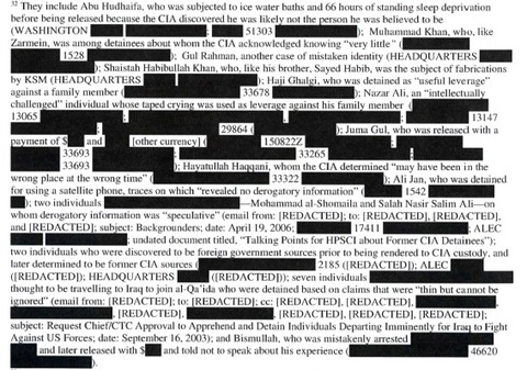 The report was heavily redacted by the CIA.