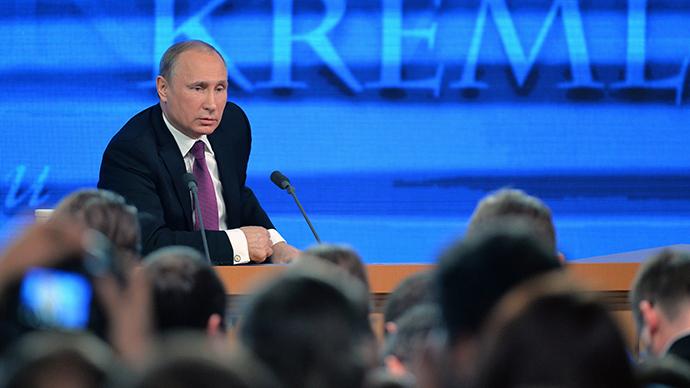 December 18, 2014. President of Russia Vladimir Putin during his tenth annual major news conference at the World Trade Centre on Krasnopresnenskaya Embankment (RIA Novosti / Vladimir Astapkovich)