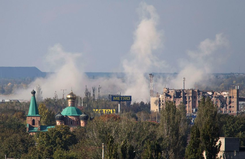 Smoke rises near Donetsk Sergey Prokofiev International airport after shelling occurred in Donetske