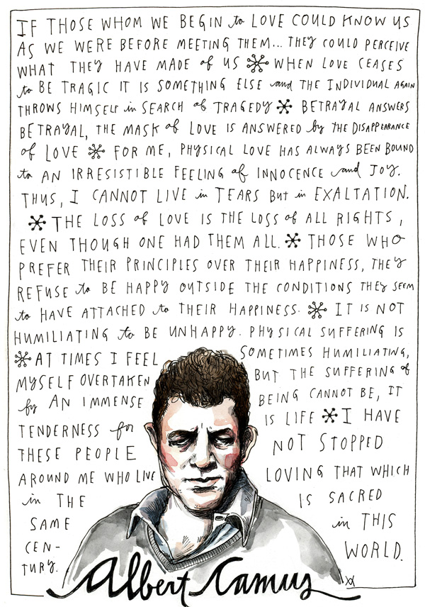 Illustration by Wendy MacNaughton based on my highlights from Albert Camus's journals.