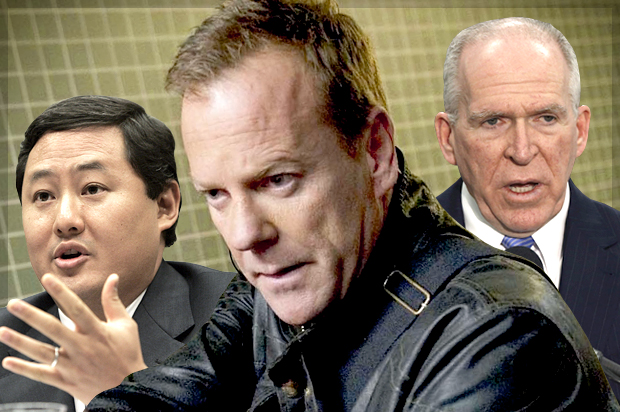 "John Yoo, Kiefer Sutherland as Jack Bauer in ""24: Live Another Day,"" John Brennan (Credit: AP/Susan Walsh/Fox/Reuters/Larry Downing/Photo collage by Salon)"