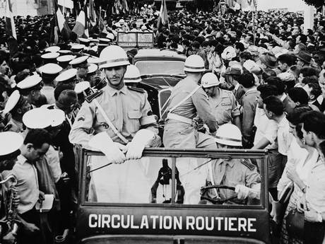 French military police drive through Algiers during the insurrection (Keystone/Getty Images)