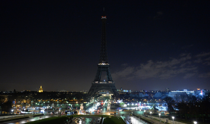 The Eiffel Tower after its lights were shut off in memory of the victims of the attack on Charlie Hebdo; January 8, 2015. Credit Photograph by Dursun Aydemir / Anadolu / Getty