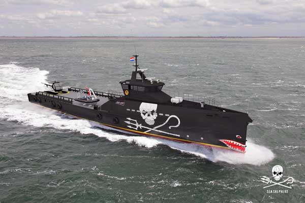 Artists' impression, depicting the potential look of Sea Shepherd's 'dream' ship. (By Artist Damen)