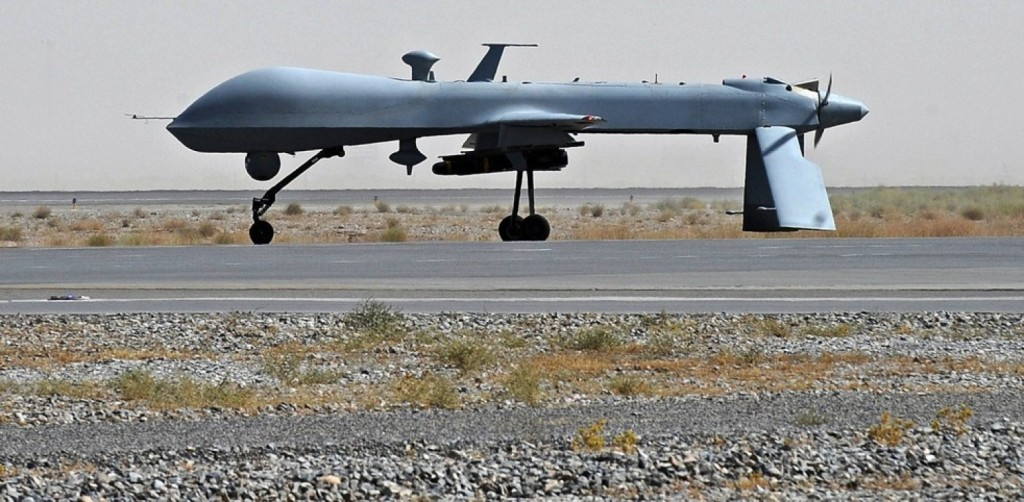 A U.S. Predator drone is shown here in Kandahar, Afghanistan. (Massoud Hossaini/AP)