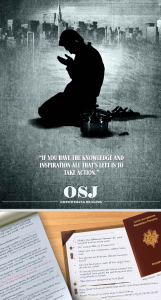 From the Winter 2014 issue of AQAP's Inspire, a Muslim prays next to a pressure cooker, above an image of a French passport.