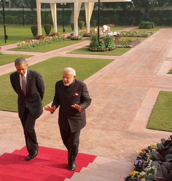 US President Barack Obama with Indian Prime Minister Narendra Modi in New Delhi on 25 January 2015 [Image: MEA, India]