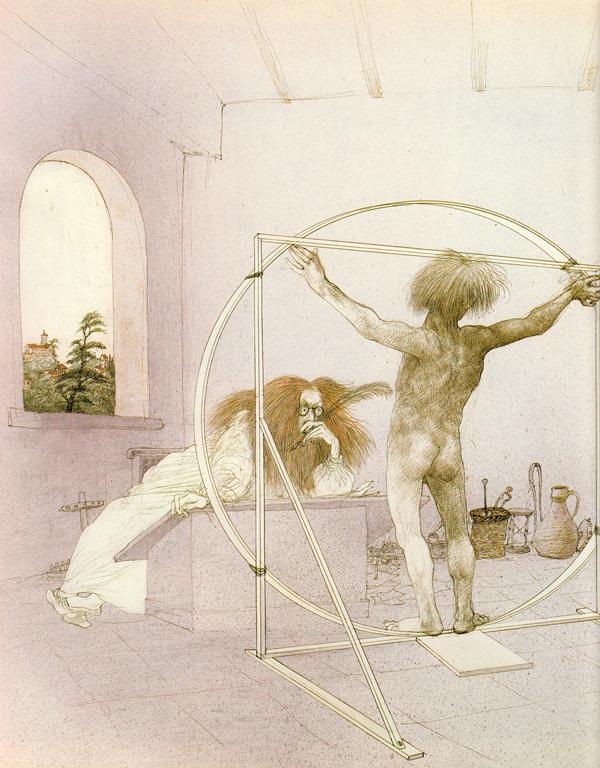 Illustration by Ralph Steadman from 'I, Leonardo.'