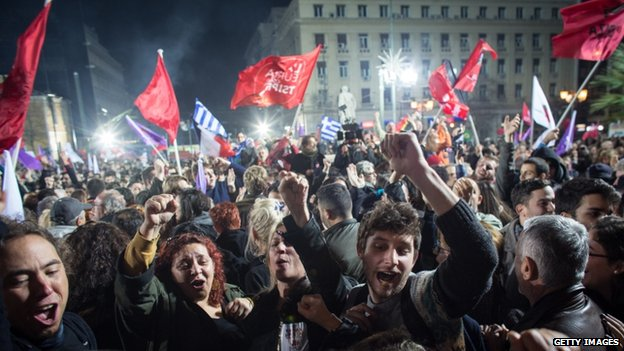 Crowds celebrated the victory late into the night in the capital Athens.